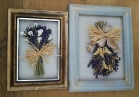 NEW PICTURES WOODEN FRAMES PAIR Natural Bespoke Handmade Shells Lavender Floral Design Art Craft 3D