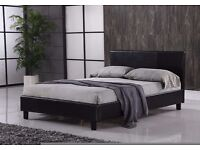 Quality 4ft6 Black faux leather double bed frame with quality deep quilted Mattress FREE DELIVERY