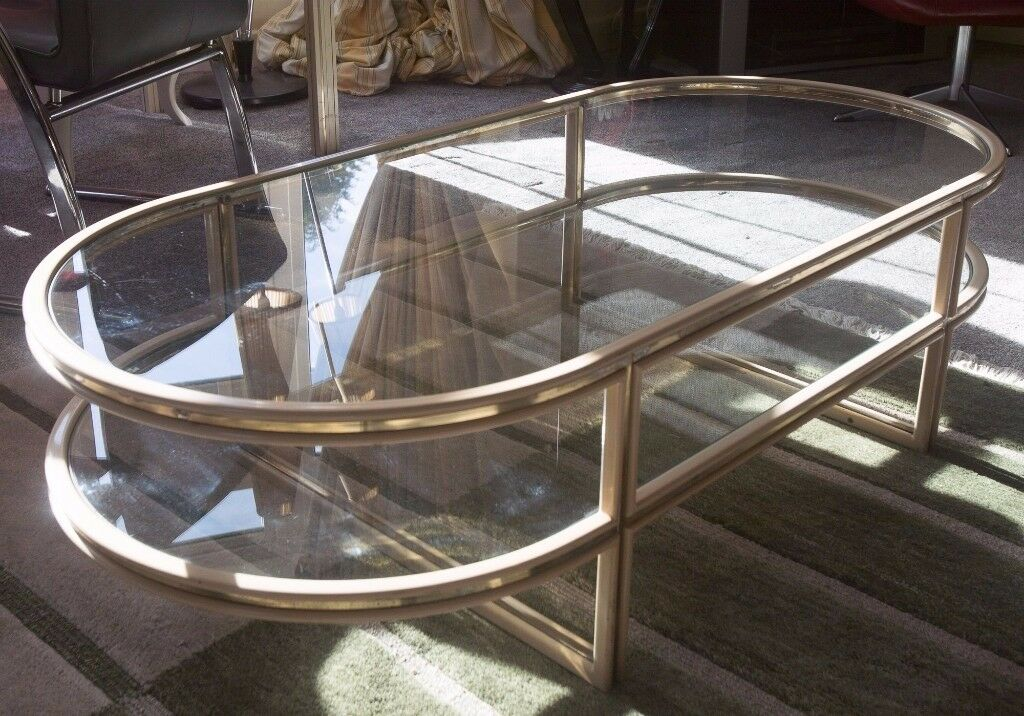 Classy metal and glass coffee table