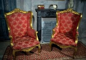 Antique Chair French Wingback Gilt Woodwork vintage armchair shabby chic Vintage