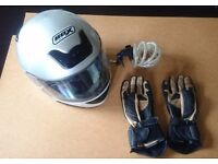 Helmet, Gloves and Lock for Motorcycle or Scooter. Good condition