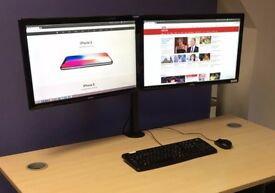 Two x 24 inch monitors + metal stand. With cables. All excellent condition.