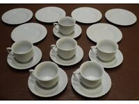 TEACUPS, SAUCERS & SIDE PLATES - SET OF 6 - WHITE WITH SCALLOP DESIGN - NEW