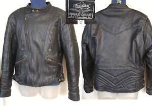 CHOKO Mens M 40 ARMORED Motorcycle Jacket BLACK Heavy Leather Biker Coat EUC Neck Cuff