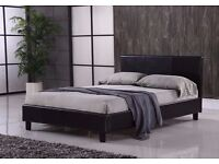 GERMAN WOOD DOUBLE /SMALL DOUBLE LEATHER BED WITH SEMI ORTHOPAEDIC MATTRESS