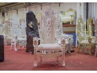 2 x New White Lion Throne Chair Wedding Events Luxury Hand Carfted Italian Furniture