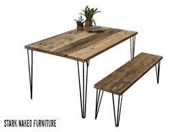 Kitchen Dining Table and One Bench Hairpin Legs Reclaimed Wood Rustic Industrial