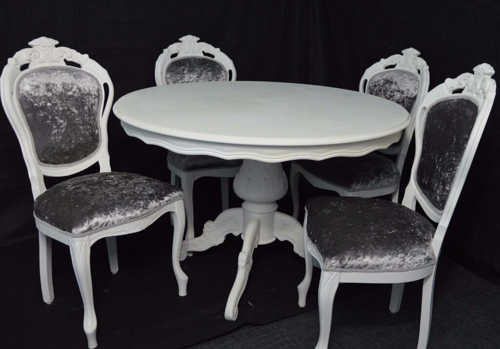 SHABBY CHIC FRENCH LOUIS STYLE ROUND DINING TABLE & 4 ...