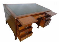 Large Antique Chippendale Mahogany Wood Ball&Claw Feet Pedestal Writing Office Desk