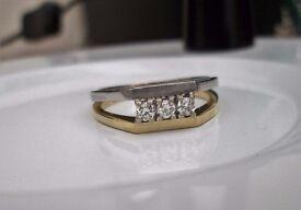 6.4 Grams Antique 18ct Yellow & White Gold Diamond Trinity Ring Size T