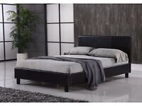 Modern Black faux leather 4ft6 double bed frame with a quality Jubilee mattress