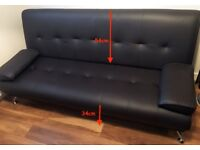 Dark Brown Venice Faux Leather Sofa Bed As New