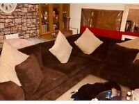 Brown suede corner sofa chair and poufee