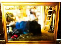 Large wall mirror with lovely golden frame , good condition. 133.3 x 103.3 cm