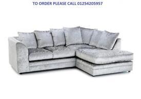 *CHEAPEST PRICE* Dylan Crush Velvet Corner sofa on Special offer, Please CALL for More Information
