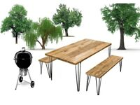 Reclaimed Wood Table and Benches for Outdoor / Patio / Garden Use - Hairpin Legs