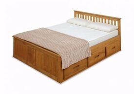 NEW 4ft Small Double Pine Storage Bed with 6 Drawers