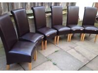 6 x faux leather brown dining chairs