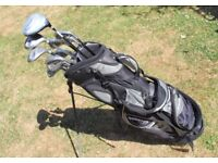 Nemesis Golf Bag/Stand with full set off Tour Gear Clubs + Driver + 2 Metal Woods