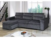 **7-DAY MONEY BACK GUARANTEE!** Espen Fabric Corner Sofa and Sofabed with Storage- RRP£549!!