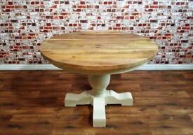 Large Farmhouse Round Table Chunky Hardwood