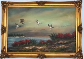 P . Citrin Signed Large Oil Painting Ducks Flying Over Lake Guild Frame
