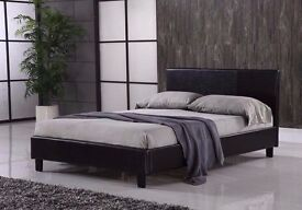 Durable Faux Leather Bed *** Double Leather Bed frame Black / Brown Same Day Cash On delivery