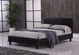EXPRESS SAME DAY DELIVERY -LEATHER BED-DOUBLE SIZE FRAME -BLACK-BROWN- WITH MATTRESS