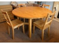 Large Round Extending IKEA Norden Table and Four Chairs
