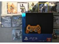 SONY PLAYSTATION PS3 SUPER SLIM BOXED 500GB & 10 GAMES CALL OF DUTY GHOSTS MW3 MW4 FARCRY 4 GT5 WAW