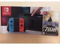 Nintendo switch boxed with Zelda