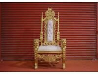 2 x New Gold Lion Throne Chair Wedding Events Luxury Hand Carfted Italian Furniture