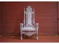 2 x New Silver leaf Lion King Queen Throne Chair Wedding Luxury Hand made French Italian Furniture