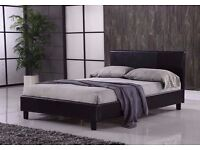 SINGLE / DOUBLE LEATHER BED MODERN DESIGN BLACK BROWN DOUBLE 4FT6 KINGSIZE 5FT