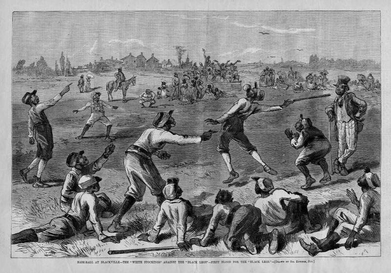BASEBALL IN BLACKVILLE, WHITE STOCKINGS VS BLACK LEGS