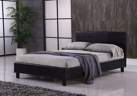 BRAND NEW - Double / Small Double Leather Bed with 13inch Memory Foam Luxury Orthopaedic Mattress