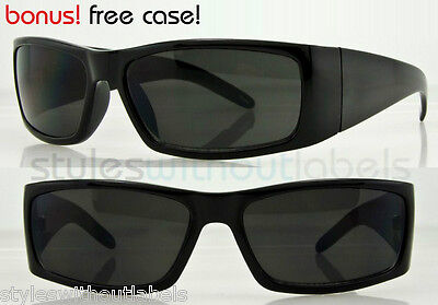 NEW Dark Lens Biker Cholo X Sports Locs Style Sunglasses Wrap Style Black