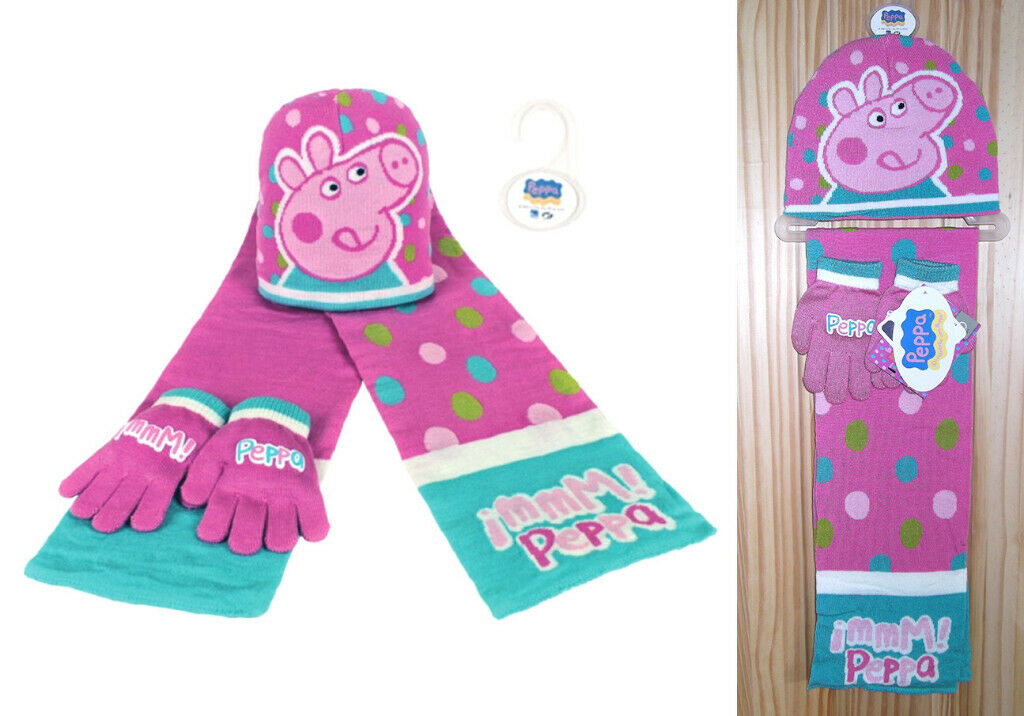 3b4fcba06489c Peppa Pig Matching Pink Hat Scarf   Gloves Accessory Set - NEW!