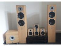 Eltax Mirage 5 point surround sound home theatre system beechwood.