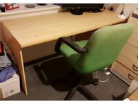 Desk and drawers, with office chair