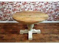 Large Chunky Hardwood Round Table Farmhouse Style