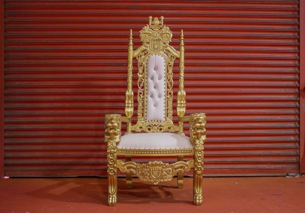 2 X New Gold Leaf Lion King Queen Throne Chair Wedding Luxury Hand Made  French Italian