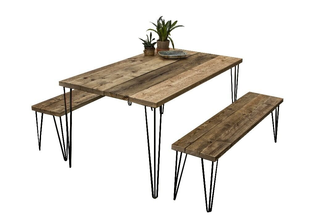 Wonderful Outdoor Garden Patio Furniture Table And Benches Hairpin Legs Industrial  Rustic Style Finish