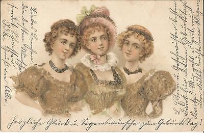 Drei schöne Frauen, Biedermeier-Mode, alte Litho-Ak mit Glimmer von 1901