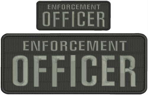 ENFORCEMENT Officer embroidery patches 4x10 and 2x5 hook on back grey