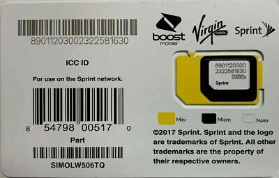 Sprint Triple Cut 3 in 1  SIMOLW506TQ SIM Card Good for many devices see list  D