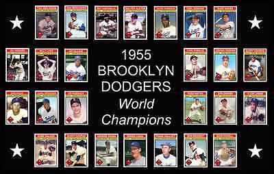 (1955 BROOKLYN DODGERS Custom Baseball Card POSTER Unique Team Photo Art Decor 55)