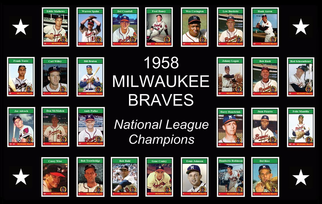 1958 MILWAUKEE BRAVES Baseball Card Complete Set POSTER Wall