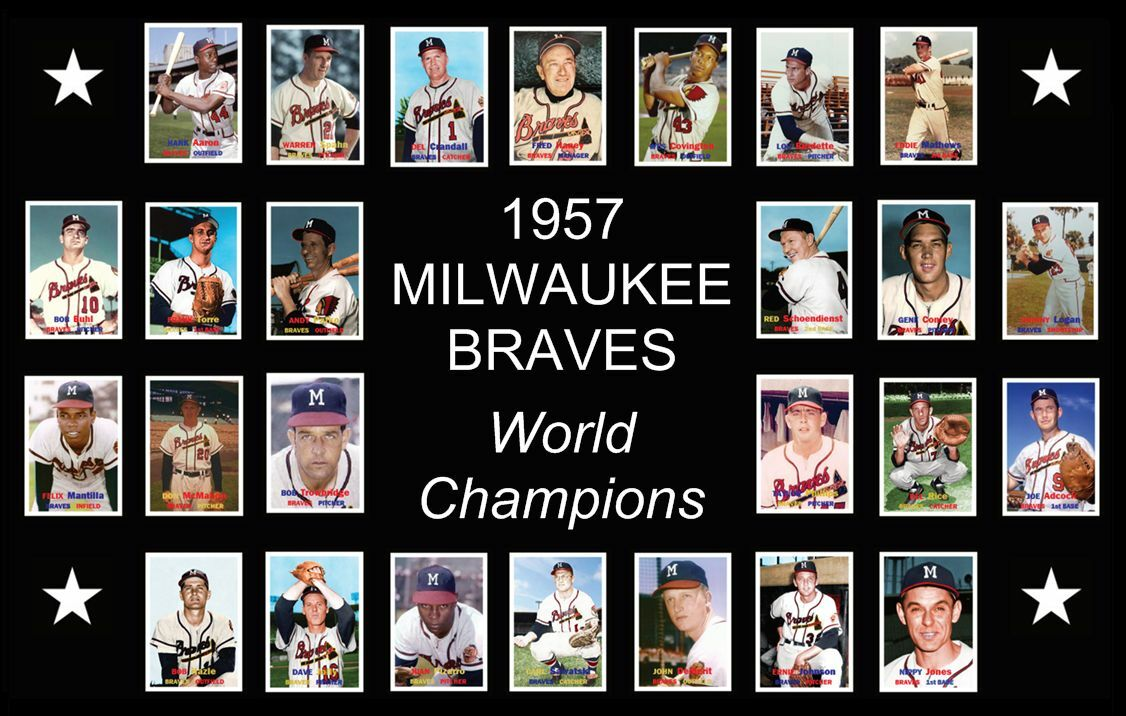 1957 MILWAUKEE BRAVES World Series Custom Baseball Card Post