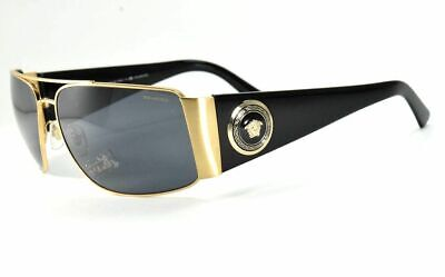 Versace Sunglasses 2163 1002/81 Black & Gold Wrap /Gray Polar Lenses